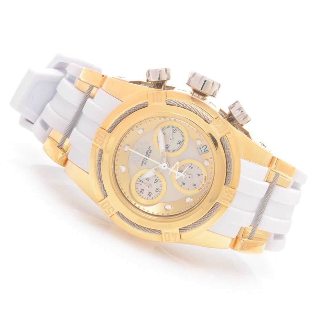 628-799 - Invicta Reserve Women's Bolt Zeus Swiss Chronograph Mother-of-Pearl Polyurethane Strap Watch