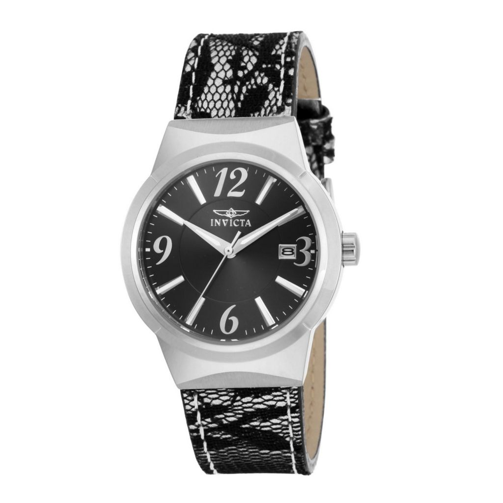 628-815 - Invicta Women's Angel Quartz Stainless Steel Lace Accent Leather Strap Watch