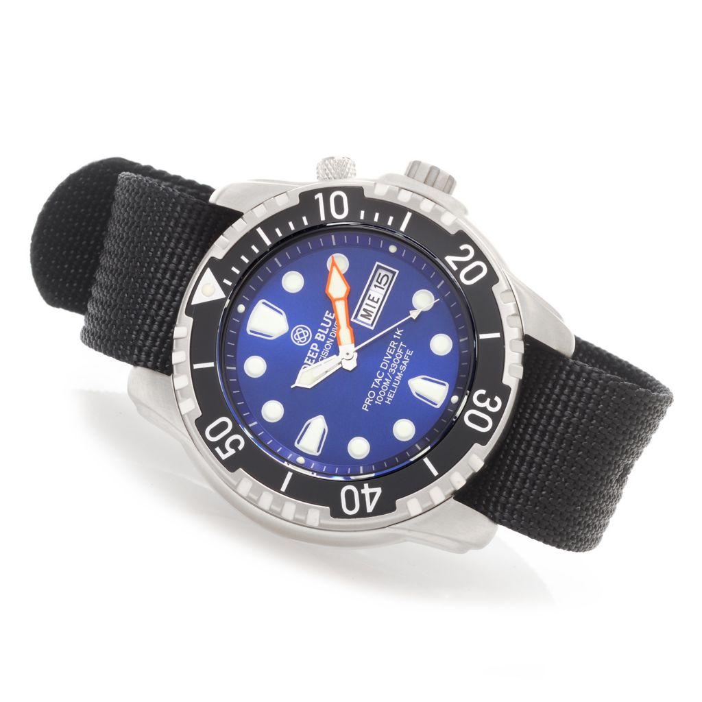 628-818 - Deep Blue 45.5mm Pro Tac Diver 1000M Quartz Stainless Steel Nylon Strap Watch