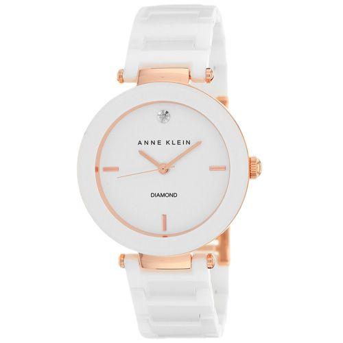 628-826 - Anne Klein Women's Classic Quartz Diamond Accented Ceramic Bracelet Watch
