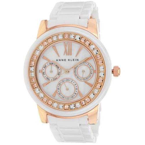 628-838 - Anne Klein Women's Classic Quartz Multi Function Crystal Accent Ceramic Bracelet Watch