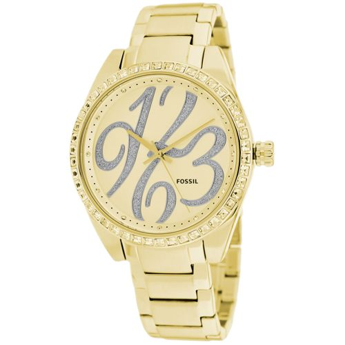 628-842 - Fossil Women's Carissa Quartz Crystal Accented Dial Stainless Steel Bracelet Watch