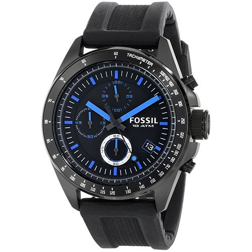 628-843 - Fossil 44mm Decker Quartz Chronograph Stainless Steel Silicone Strap Watch