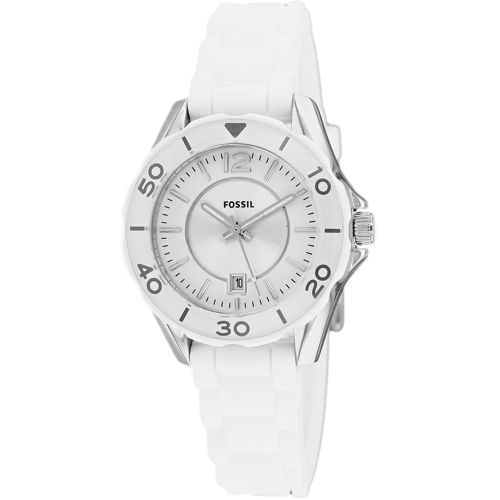 628-844 - Fossil Women's Riley Mini Quartz Date Stainless Steel Silicone Strap Watch