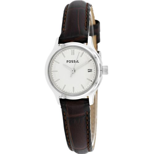 628-845 - Fossil Women's Archival Mini Quartz Date Stainless Steel Leather Strap Watch
