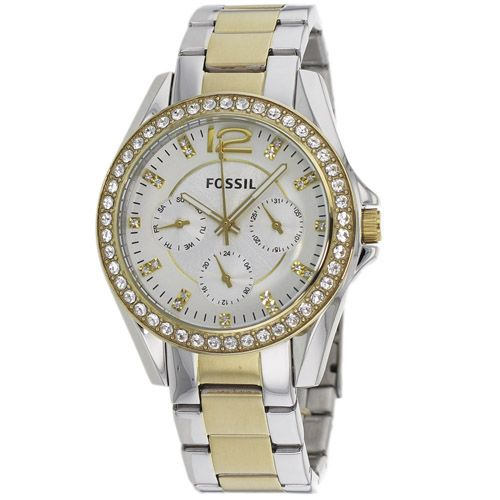 628-846 - Fossil Women's Riley Quartz Multi-Function Crystal Accented Stainless Steel Bracelet Watch