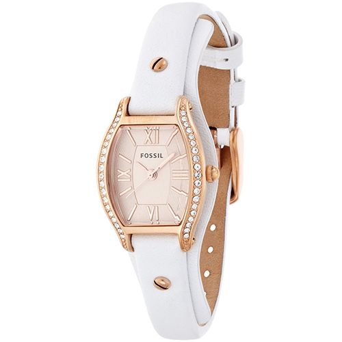 628-848 - Fossil Women's Molly Quartz Tonneau Case Crystal Accented Leather Strap Watch