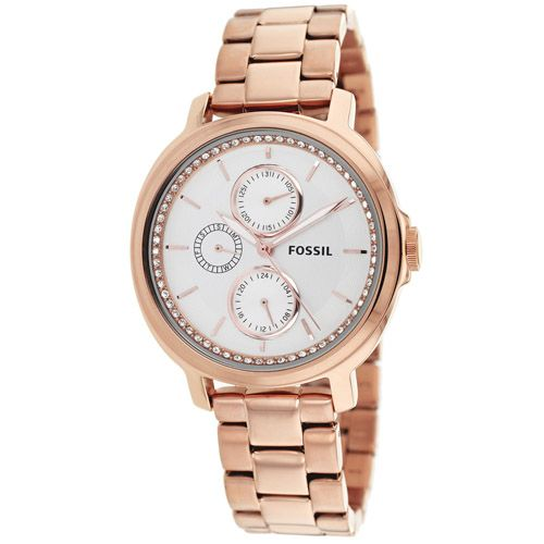 628-850 - Fossil Women's Chelsey Quartz Multi Function Crystal Accented Stainless Steel Bracelet Watch