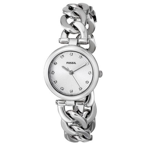 628-851 - Fossil Women's Olive Quartz Crystal Accented Stainless Steel Link Bracelet Watch