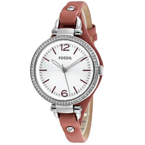 628-855 - Fossil Women's Georgia Quartz Crystal Accented Leather Strap Watch