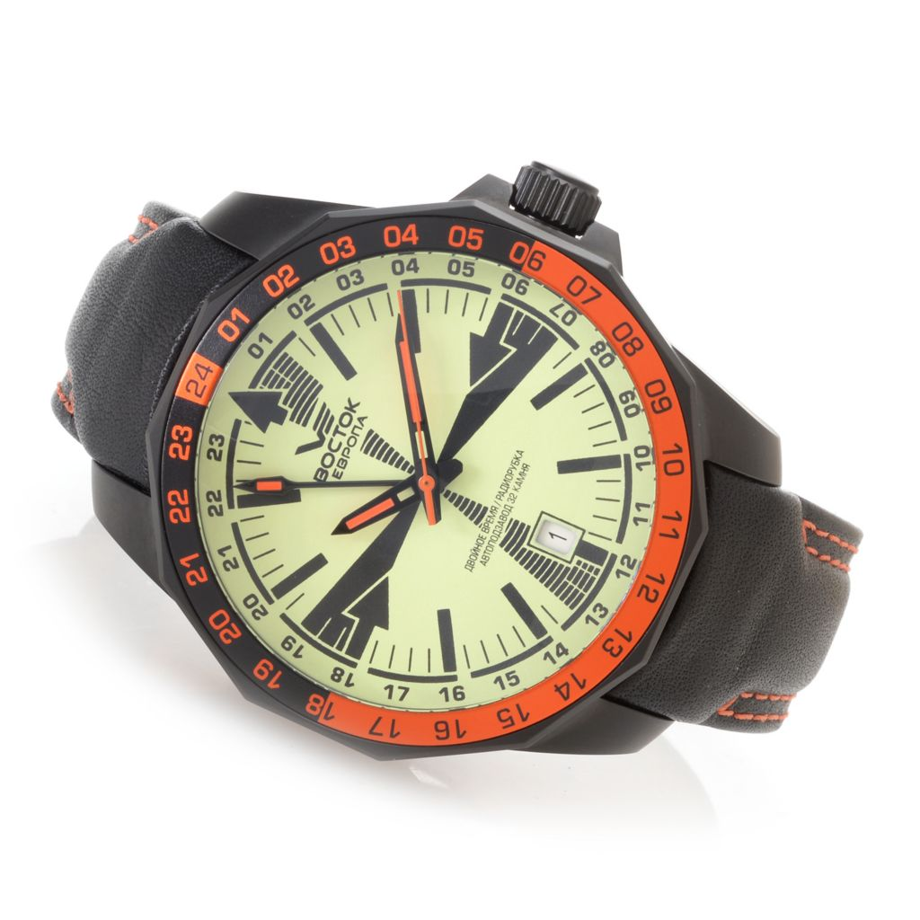 628-870 - Vostok-Europe 46mm Radio Room Limited Edition Automatic Leather Strap Watch