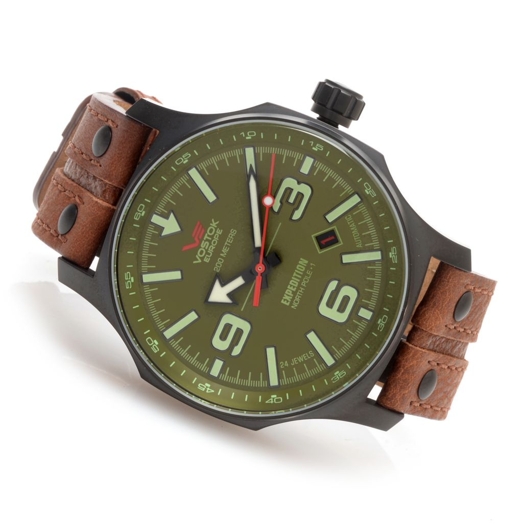 628-871 - Vostok-Europe 48mm Expedition North Pole 1 Automatic Leather Strap Watch