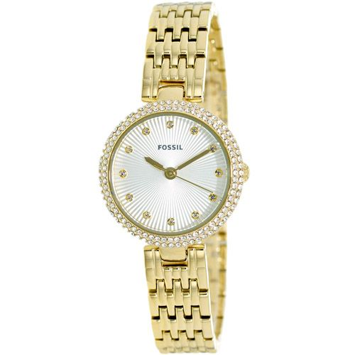 628-872 - Fossil Women's Olive Quartz Crystal Accented Stainless Steel Bracelet Watch