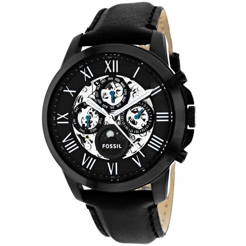 628-880 - Fossil 44mm Grant Automatic Multi Function Calendar Leather Strap Watch