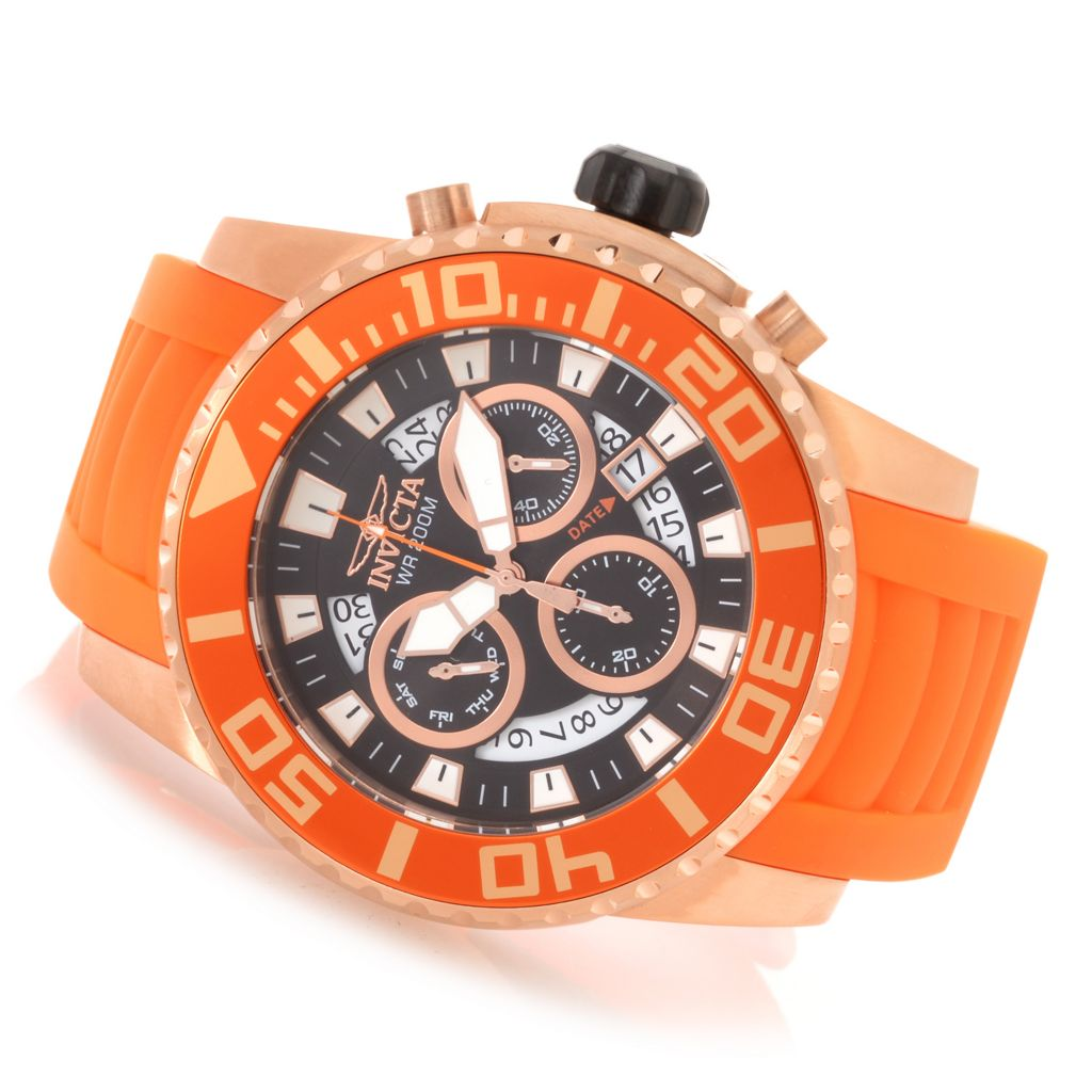 628-889 - Invicta 52mm Pro Diver Swiss Quartz Chronograph Polyurethane Strap Watch w/ One-Slot Dive Case