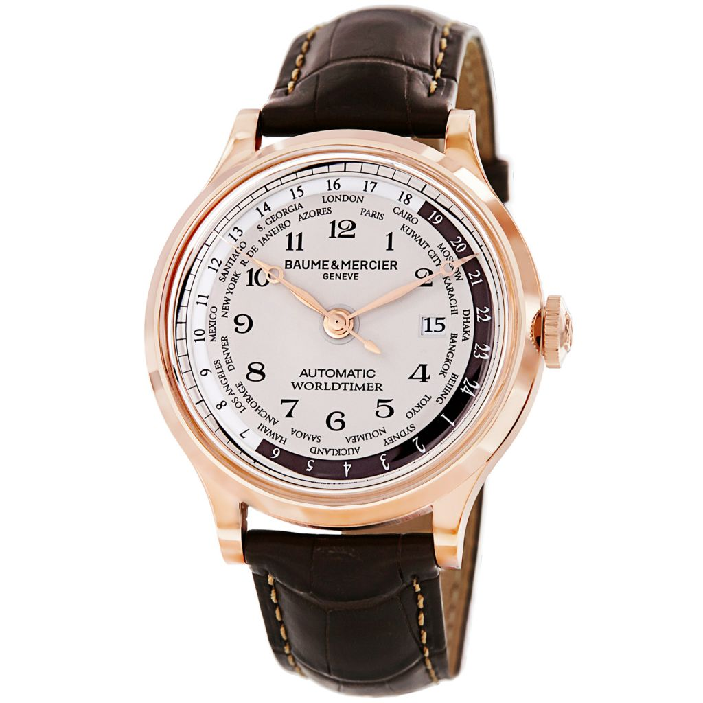629-011 - Baume & Mercier 44mm Capeland Swiss Made Automatic 18K Rose Gold Case Alligator Leather Strap Watch