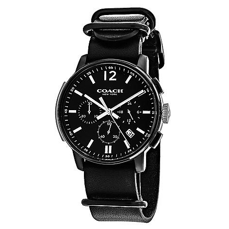 255333ed736 coach mens 42mm bleecker quartz chronograph black leather strap watch on  sale