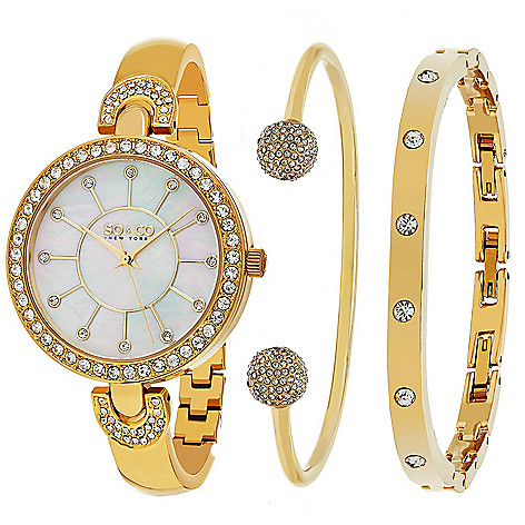 380d56c4524 so & co womens madison quartz mother of pearl dial crystal accented  bracelet watch &.