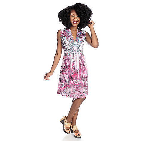 702-098 - One World Micro Jersey Sleeveless Empire Waist Flip Flop Dress