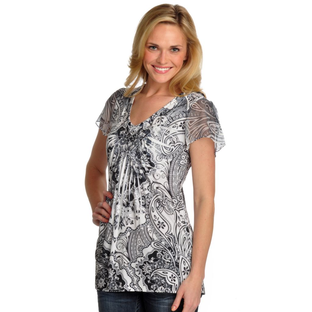 702-117 - One World Micro Jersey Short Sleeved Lace Back Stud Detail Top