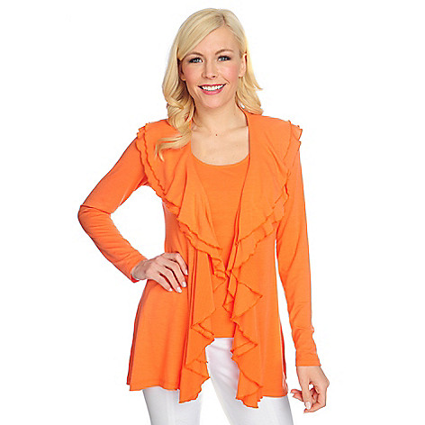 702-141 - Geneology Stretch Knit Double Ruffle Cardigan & Tank Set