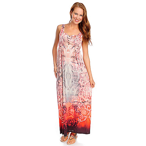 702-226 - One World Micro Jersey Satin Yoke Stud Detailed Maxi Dress