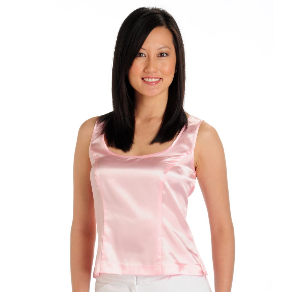 702-237 - aDRESSing WOMAN Charmeuse Sleeveless Side Zipped Scoop Neck Shell