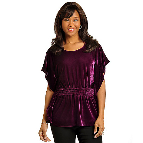 702-540 - Geneology Butterfly Sleeved Gathered Waist Velour Top