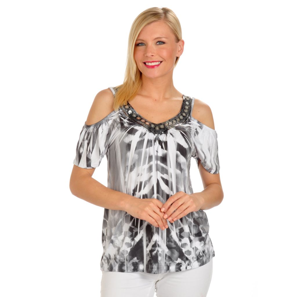 702-679 - One World Micro Jersey Knit Sequin Detailed Cold Shoulder Top