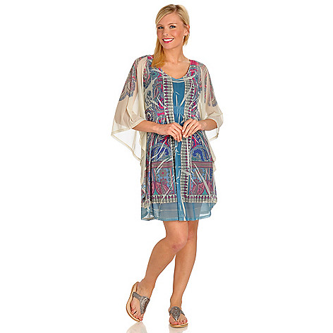 702-686 - One World Scoop Neck Rhinestone Detail Printed Mesh Caftan Dress