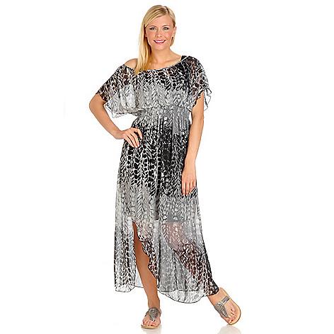 702-687 - One World  Printed Woven Short Sleeve Boho Maxi Dress