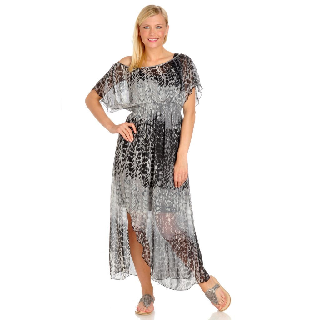 702-687 - One World  Printed Woven Short Sleeve Boho Maxi Dress