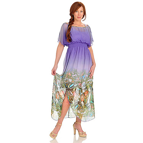 702-688 - One World Butterfly Motif Woven Ombre Maxi Dress