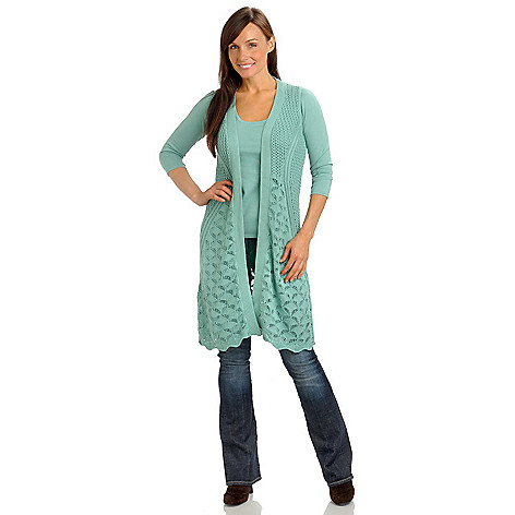 702-694 - Geneology Crochet Knit Sleeveless Duster Length Cardigan Sweater