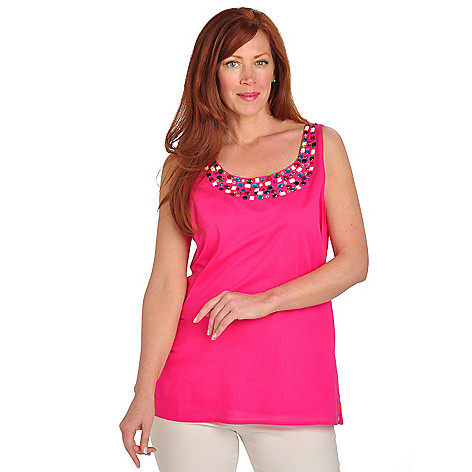 702-713 - Love, Carson by Carson Kressley Poplin Jewel Embellished Tank Top