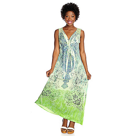 702-733 - One World Printed Knit Sleeveless Crochet Back Maxi Dress