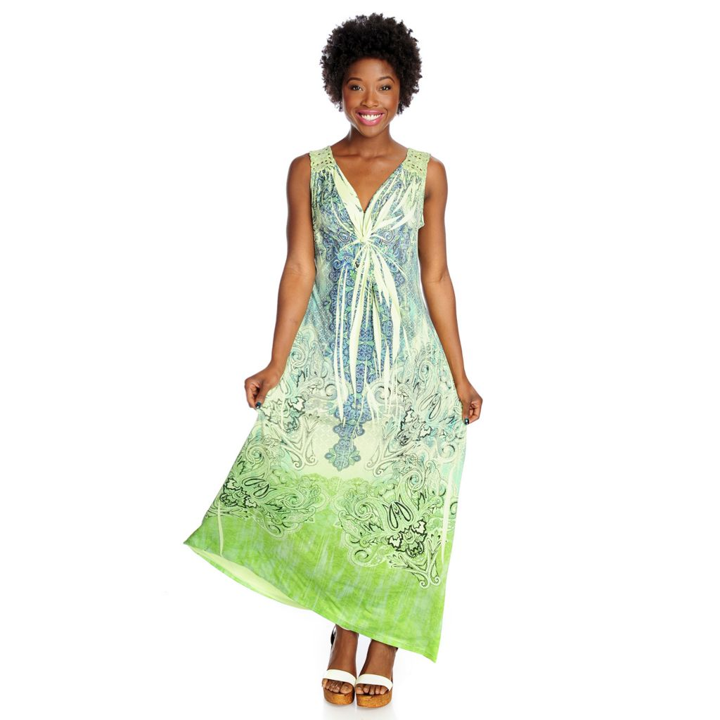 One World Printed Knit Sleeveless Crochet Back Maxi Dress