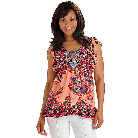 702-741 - One World Printed Knit Flutter Sleeve Embroidered Scoop Neck Top