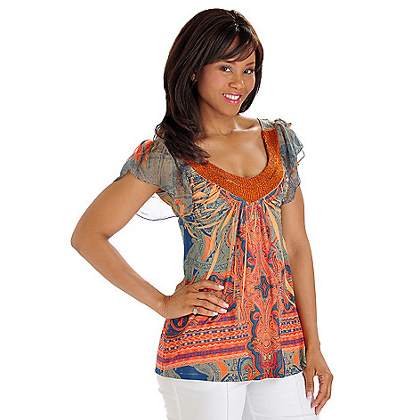 702-744 - One World Micro Jersey Flutter Sleeve Bead Detailed Scoop Neck Top