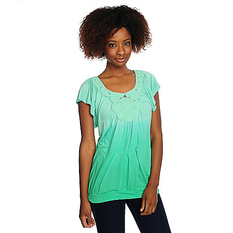 702-749 - One World Dip Dyed Knit Short Sleeved Crochet Detail Top