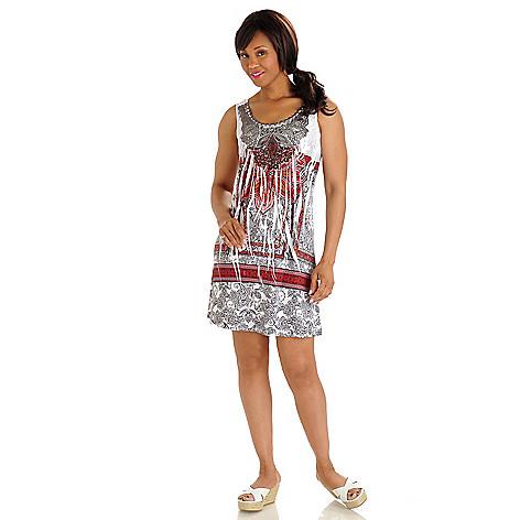 702-751 - One World Printed Knit Applique & Rhinestone Detail Flip Flop Dress
