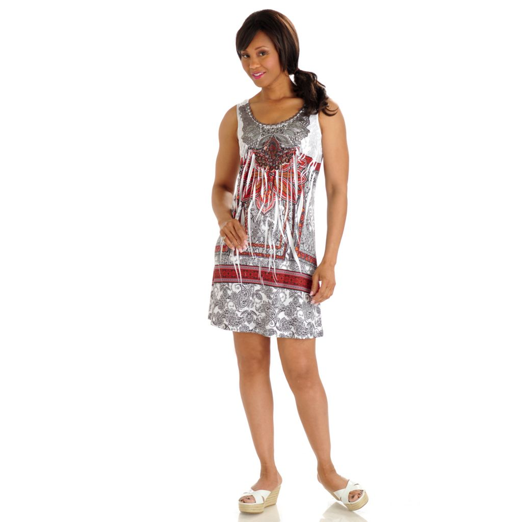 702-751 - One World Printed Knit Applique & Rhinestone Detail Flip Flop Dress