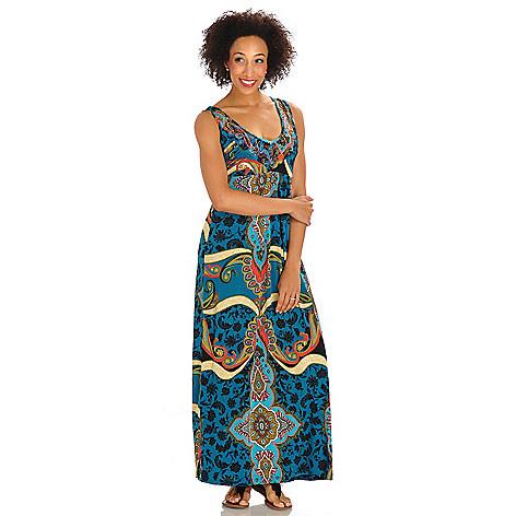 702-752 - One World Printed Knit V-Neck Rhinestone Detail Maxi Dress
