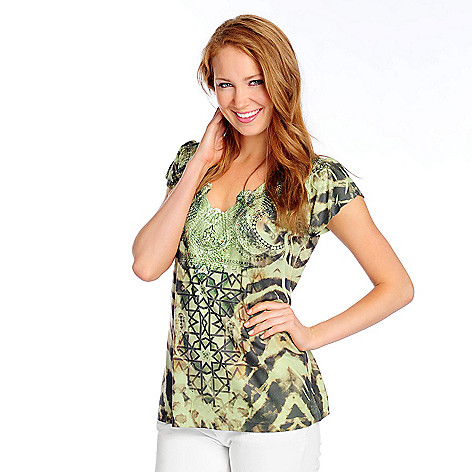 702-753 - One World Printed Knit Flutter Sleeve Lace & Rhinestone Detailed Top