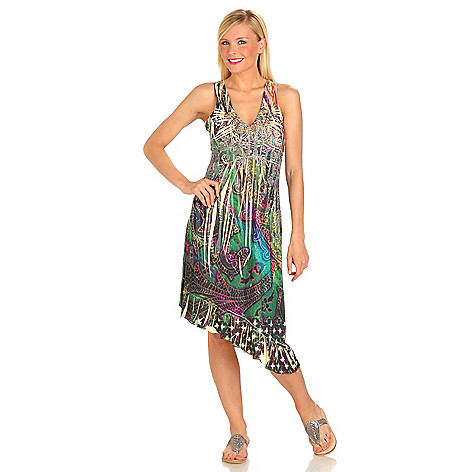 702-755 - One World Printed Knit Asymmetrical Hem Rhinestone Detail Flip Flop Dress