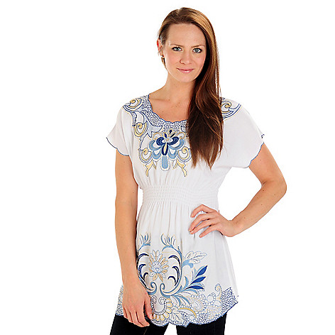 702-770 - Kate & Mallory Elastic Waist Embroidered Woven Top