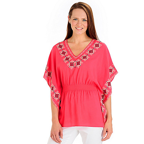 702-771 - Kate & Mallory Butterfly Sleeve Elastic Waist Embroidered Woven Top