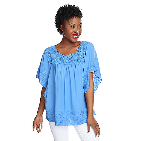 702-774 - Kate & Mallory® Challis Butterfly Sleeve Crochet Neck Embroidered Top