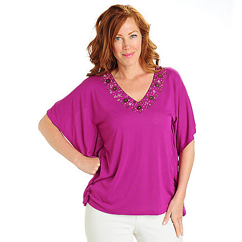702-798 - Love, Carson by Carson Kressley Solid Knit Beaded V-Neck Poncho-Style Top