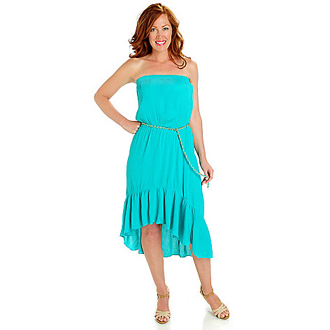 702-831 - aDRESSing WOMAN Crepon Hi-Lo  Ruffle Hem Strapless Dress w/ Chain Belt